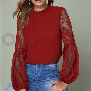 Tops - Red Pleated Neck Long Sleeve Lace Sheer